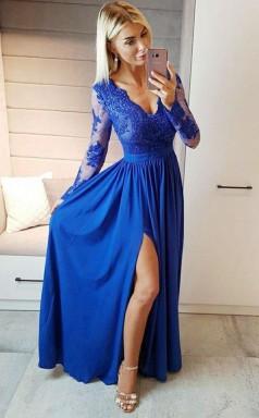 A Line V Neck Royal Blue Chiffon Long Sleeves Prom Dress with Appliques JTA9961