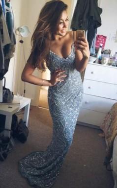 Cute Mermaid Blue Satin Simple Prom Dress Formal Dress JTB2221
