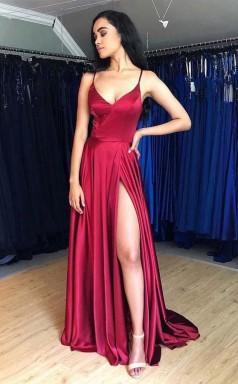 Hot Sale A Line Satin Simple Prom Dress Formal Dress With Split JTB2271