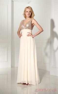 Comsilk Chiffon Taffeta A-line V-neck Sleeveless Evening Dresses(JT4-LFDZC116)