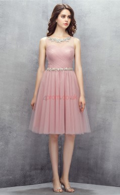 Nude Tulle Sequined A-line Bateau Sleeveless Cocktail Dress(JT4-LFDZD141)