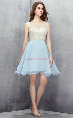 Sky Blue Tulle Sequined A-line Scoop Sleeveless Cocktail Dress(JT4-LFDZD142)