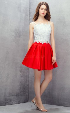 Red Lace Chiffon Sequined A-line Straps Sleeveless Cocktail Dress(JT4-LFDZD144)