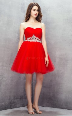 Red Tulle Sequined A-line Sweetheart Sleeveless Cocktail Dress(JT4-LFDZD145)