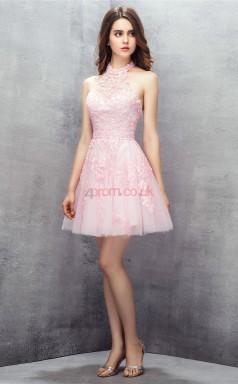 Blushing Pink Taffeta Lace A-line Halter Sleeveless Cocktail Dress(JT4-LFDZD147)