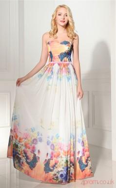 Print Taffeta Chiffon A-line Sweetheart Sleeveless Evening Dresses(JT4-LLLFC01)
