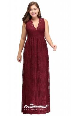 Burgundy Long  V-neck Bridesmaid/Party Dresses PPBD005