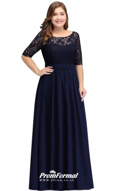 Navy Blue Long Half Sleeve Illusion Bridesmaid/Party Dresses PPBD007