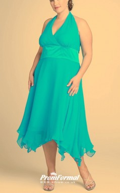 Dark Turquoise Ankle-length  V-neck Bridesmaid/Party Dresses PPBD021
