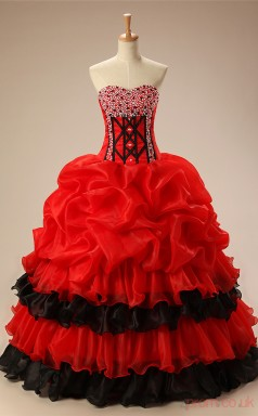 Red Organza Ball Gown Sweetheart Sleeveless Prom Ball Gowns(JT4-PPQ01)