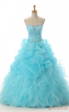 Blue Organza Satin Ball Gown Sweetheart Sleeveless Prom Ball Gowns(JT4-PPQ03)
