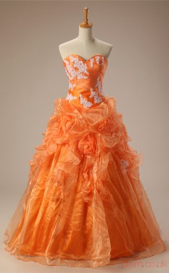 Orange Organza Stretch Satin Ball Gown Sweetheart Sleeveless Prom Ball Gowns(JT4-PPQ0024)