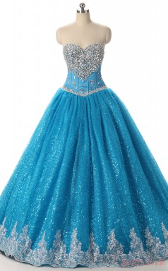 Blue Tulle Satin Ball Gown Sweetheart Sleeveless Prom Ball Gowns(JT4-PPQDZ104)