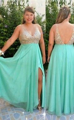 Cyan Chiffon A-line V-neck Sleeveless Floor-length Plus Size Prom Dress(PRPSD04-093)