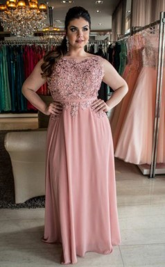 Nude Pink Chiffon A-line Bateau Sleeveless Floor-length Plus Size Prom Dress(PRPSD04-104)