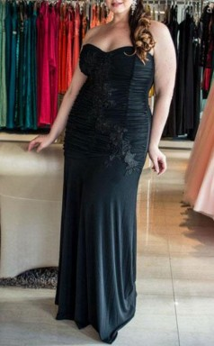 Black Spandex Trumpet/Mermaid Sweetheart Sleeveless Floor-length Plus Size Prom Dress(PRPSD04-109)