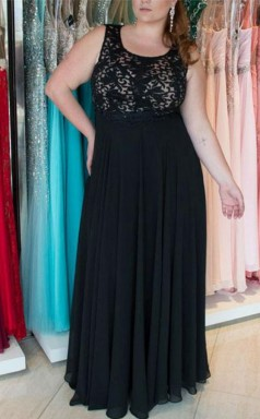 Black Chiffon A-line Jewel Sleeveless Floor-length Plus Size Prom Dress(PRPSD04-111)