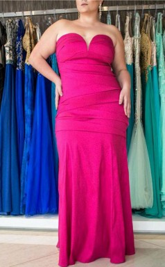 Fuchsia Satin Trumpet/Mermaid Sweetheart Sleeveless Floor-length Plus Size Prom Dress(PRPSD04-112)