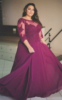 Dark Fuchsia Lace Chiffon A-line Illusion Half Sleeve Floor-length Plus Size Prom Dress(PRPSD04-119)