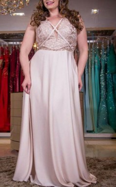 Silver Charmeuse Lace A-line V-neck Sleeveless Floor-length Plus Size Prom Dress(PRPSD04-120)