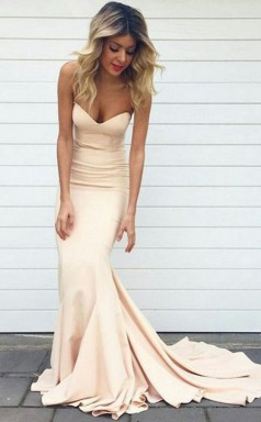 Beige Spandex Trumpet/Mermaid Sweetheart Sleeveless Floor-length Plus Size Prom Dress(PRPSD04-121)