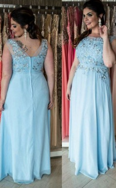 Light Blue Chiffon A-line Bateau Short Sleeve Floor-length Plus Size Prom Dress(PRPSD04-123)