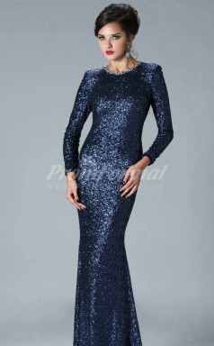 Sequined Jewel Long Sleeve Mermaid Celebrity Dress(PROSCD04-824)