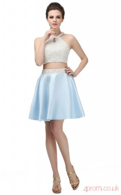 Sky Blue Taffeta A-line Halter Sleeveless Two Piece Prom Dresses(JT4-SH0067)