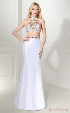 White Taffeta Trumpet/Mermaid Halter Illusion Sleeveless Two Pieces Prom Dresses(JT4-06412)