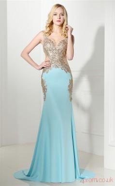 Light Sky Blue Taffeta Trumpet/Mermaid V-neck Sleeveless Prom Dresses(JT4-06413)