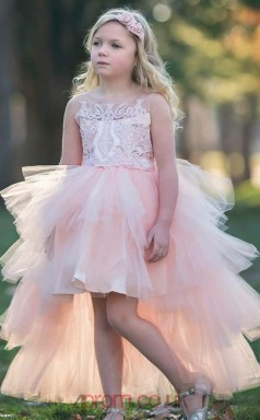 Cute High Low Pink Kids Girls Prom Dress ACH007