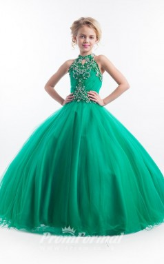 Emerald Green Kids Girls Pageant Dresses Party Dresses with Halter Neck BCH013