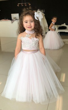 Lovely High Neck Kids Baby Girls 2 Piece Communion Dresses Toddler Prom Dress Aged 2 - 8 Years Old CHK176