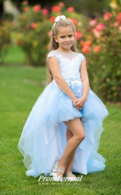High Low Princess Light Blue Flower Girl Dress Girls Pageant Dress Birthday Dresses - CHK178