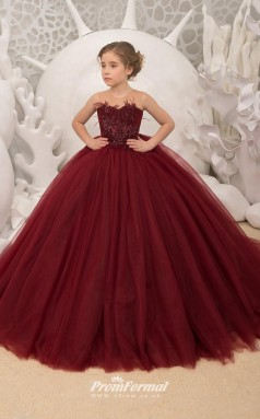 Burgundy Girl's Pageant Dresses Ball Gown Wedding Party Dress Kids Evening Prom Dress CHK182
