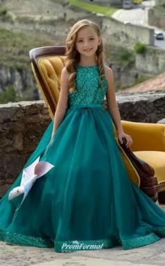 Quality Princess Hunter Green Flower Girl Dresses Shining Sequined Pageant Dresses Kids Formal Wear FGD459