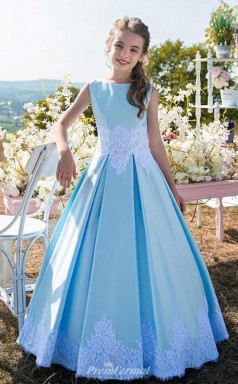 Simple Light Blue Girls Pageant Dresses Elegant Satin Kid Birthday Party Dress with Lace Appliques and Bows FGD462