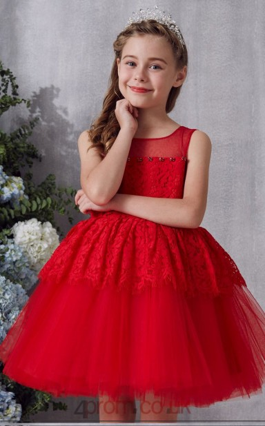 d282d4a7f09bc Red Lace Tulle Illusion Sleeveless Mini Ball Gown Children's Prom Dress  (FGD334) - 4prom.co.uk