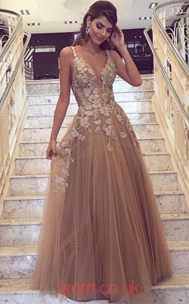 cb1555c727ca Light Brown Tulle Lace V-neck A-line Floor-length Sex Prom Dress(JT3719) -  4prom.co.uk
