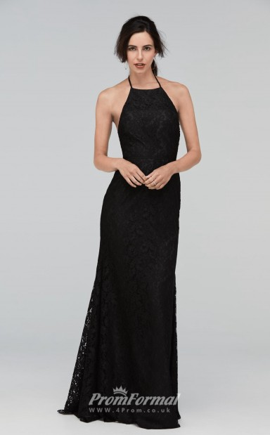 d78d9ffba235 BDUK2210 Sheath Black Lace Halter Long Bridesmaid Dress - 4prom.co.uk