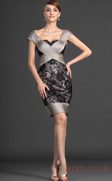 ac59163cb260 Silver Lace Sheath Column Off The Shoulder Mini Prom Dress(BD04-432) -  4prom.co.uk