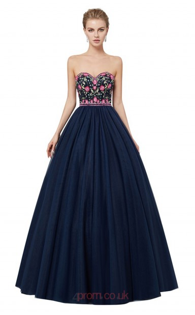 Ball Gown Navy Blue Embroidery Tulle Sweetheart Neck Long Prom ...