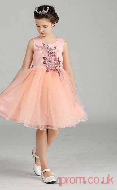 5f20c86a5f5 Pearl Pink Organza Princess Jewel Knee-length Children s Prom Dress(FGD265)  - 4prom.co.uk