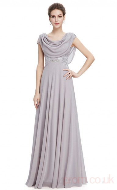 A Line Cowl Long Dark Gainsboro Chiffon Sequined Prom Dresses With