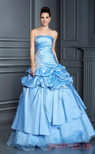 Dodger Blue Taffeta Strapless Floor-length Ball Gown