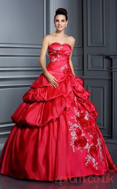 Red Taffeta Floor Length Dress
