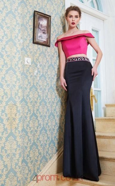 aacfa00b348 Trumpet Mermaid Satin Black Off The Shoulder Short Sleeve Floor-length Two  Piece Prom Dress(JT2611) - 4prom.co.uk