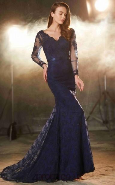 660c41550be6 Trumpet Mermaid Lace Navy Blue V-neck Long Sleeve Long Evening  Dress(JT2626) - 4prom.co.uk