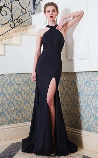 28d3d75cca1 Trumpet Mermaid Matte Satin Black Halter Asymmetrical Formal Prom Dress  with Split Side(JT2647) - 4prom.co.uk