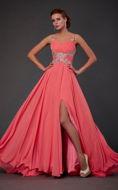 Free Shipping Watermelon Chiffon A-line Straps Floor-length Bridesmaid  Dresses(JT2836) - 4prom.co.uk 6690949a1a29
